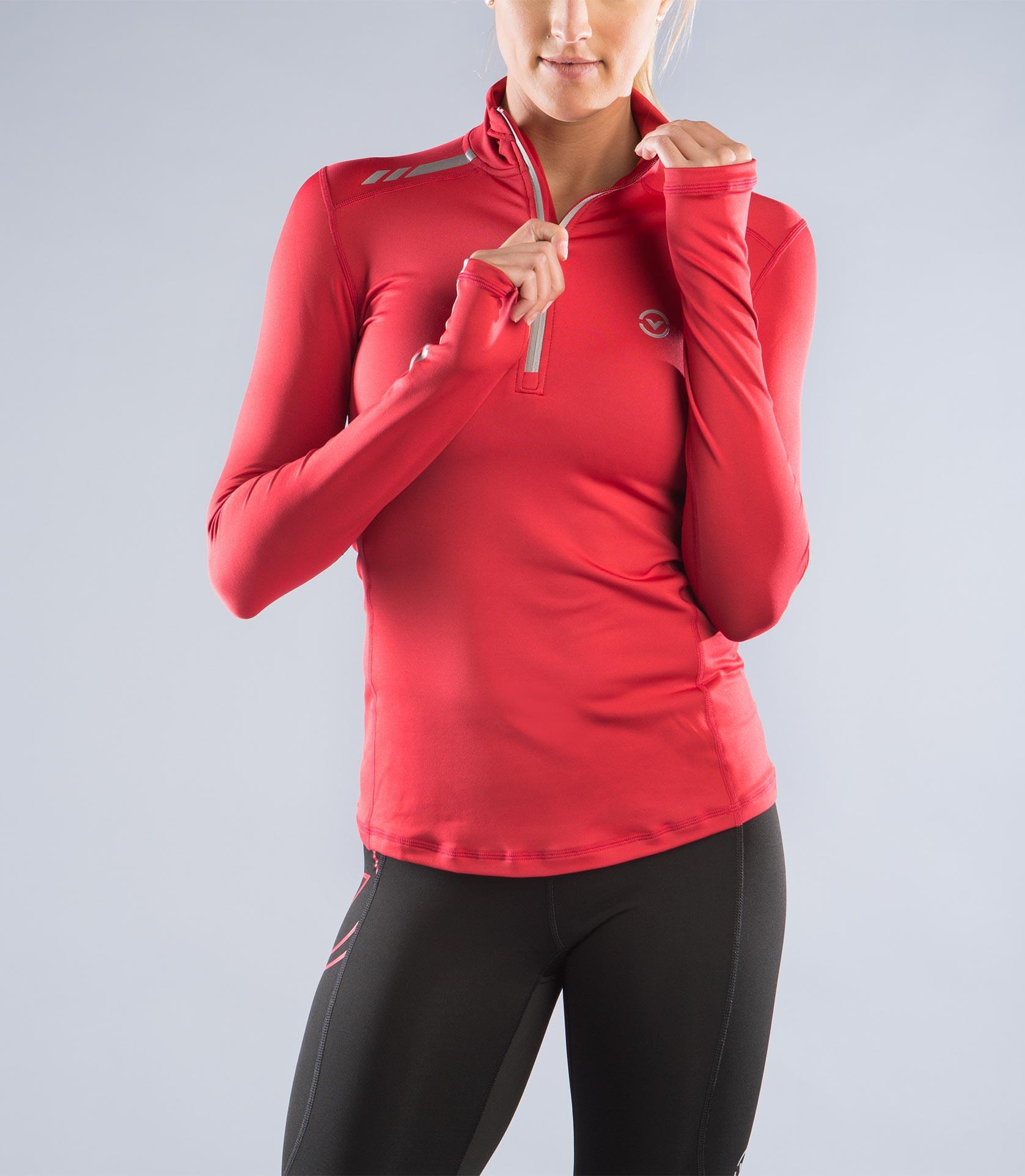 ESiO1女子咖啡紗長袖半拉鍊功能性保暖衣