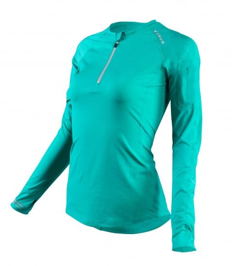 ECo23女子涼爽V-Line長袖半拉鍊圓領機能衣