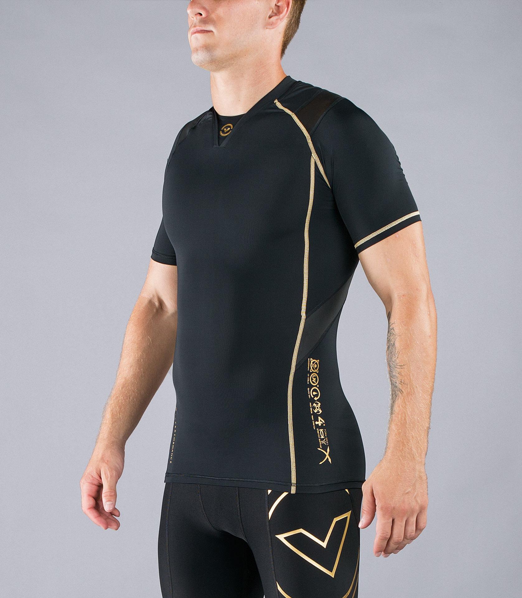 Au7X男子短袖V領X-型生物機能緊身衣